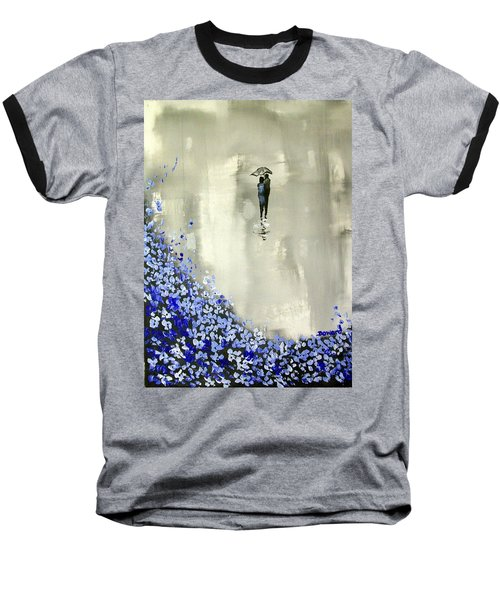 Baseball T-Shirt featuring the painting Lady In Blue by Raymond Doward