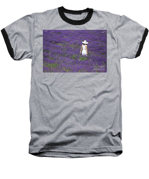Lady In Lavender Field Baseball T-Shirt