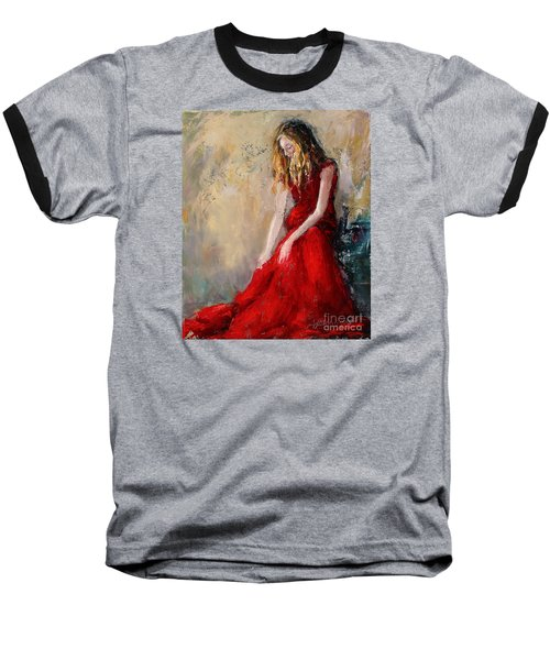 Lady In Red 2 Baseball T-Shirt by Jennifer Beaudet