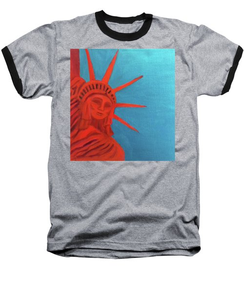 Baseball T-Shirt featuring the painting Lady Liberty by Margaret Harmon