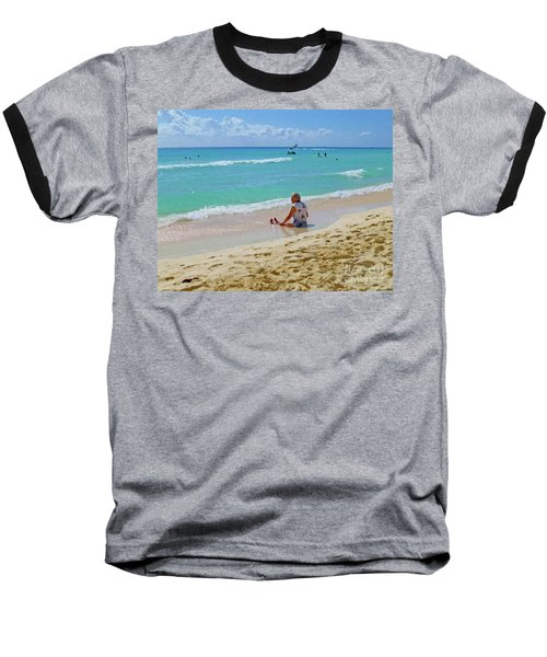 Baseball T-Shirt featuring the digital art Lady On The Beach by Francesca Mackenney