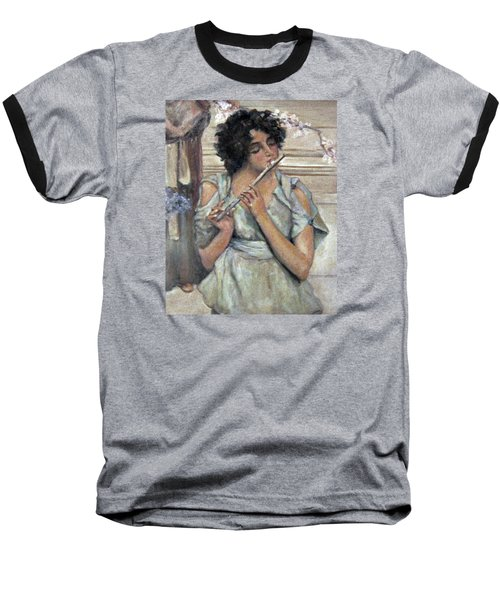 Lady Playing Flute Baseball T-Shirt by Donna Tucker