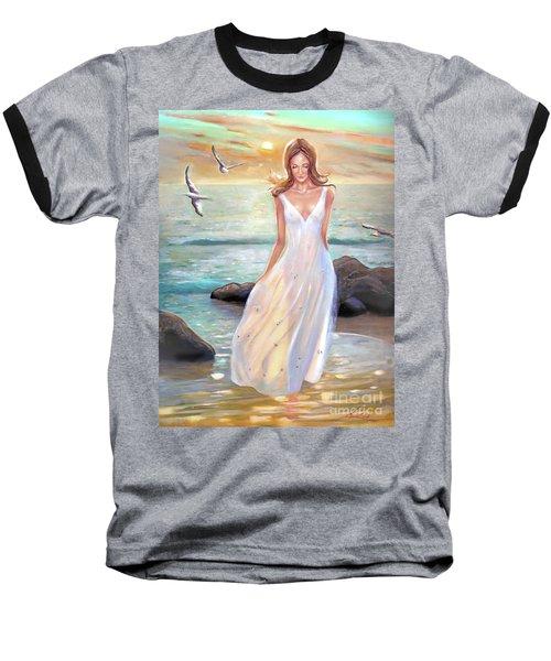 Lady Walking On The Beach Baseball T-Shirt