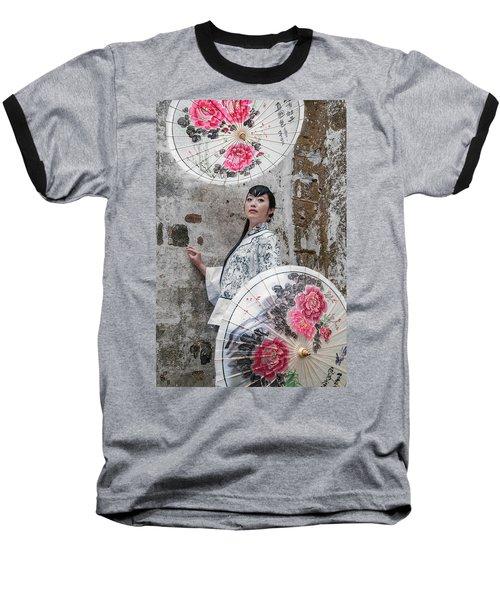 Lady With An Umbrella. Baseball T-Shirt