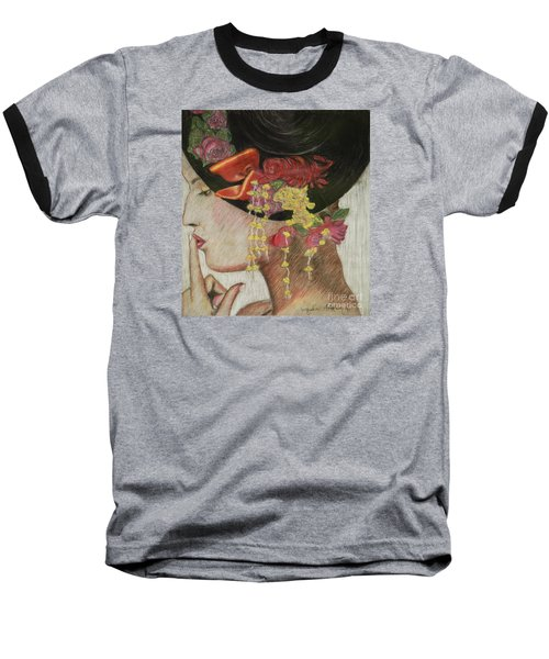 Baseball T-Shirt featuring the drawing Lady With Hat by Jacqueline Athmann