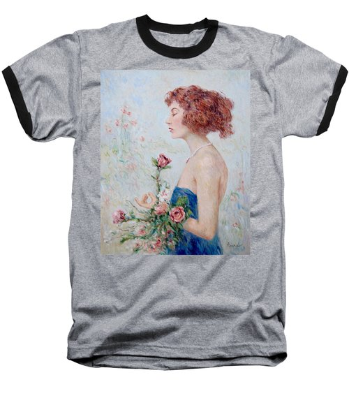 Lady With Roses  Baseball T-Shirt