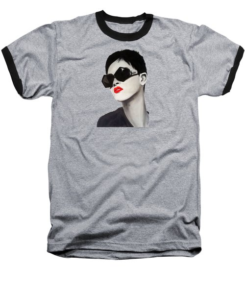 Lady With Sunglasses Baseball T-Shirt by Birgit Jentsch