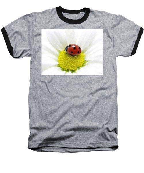 Baseball T-Shirt featuring the mixed media Ladybug On White Daisy by Anthony Fishburne