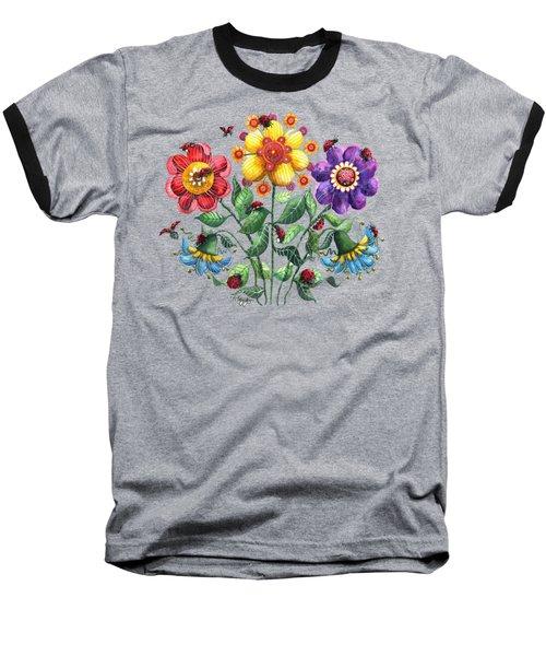 Ladybug Playground Baseball T-Shirt by Shelley Wallace Ylst