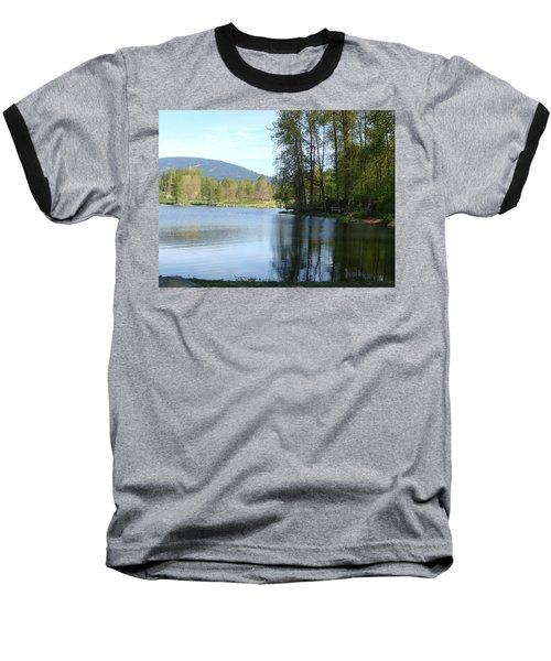 Baseball T-Shirt featuring the painting Lafarge Lake Serenity by Rod Jellison