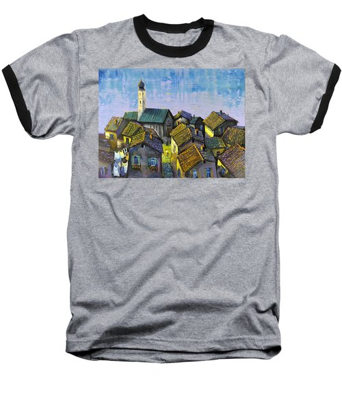 Baseball T-Shirt featuring the painting Lago   Caldonazza by Mikhail Zarovny