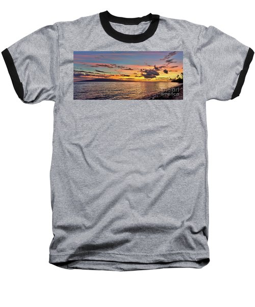 Lahaina Sunset Panorama Baseball T-Shirt