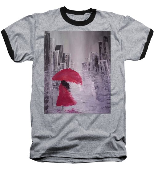 Laidy In The City Abstract Art Baseball T-Shirt by Sheila Mcdonald