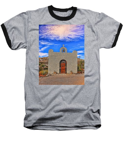 Lajitas Chapel Painted Baseball T-Shirt by Judy Vincent