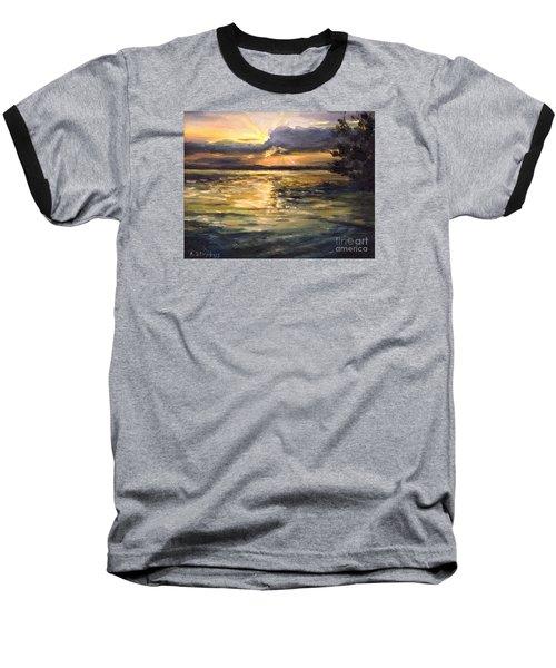 Baseball T-Shirt featuring the painting Lake by Arturas Slapsys
