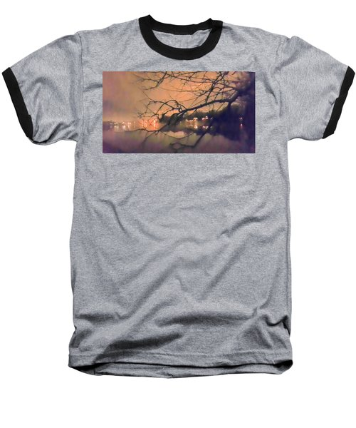 Foggy Lake At Night Through Branches Baseball T-Shirt