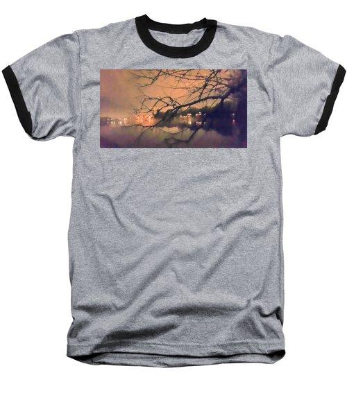 Foggy Lake At Night Through Branches Baseball T-Shirt