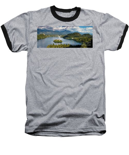 Baseball T-Shirt featuring the photograph Lake Bled Pano by Brian Jannsen