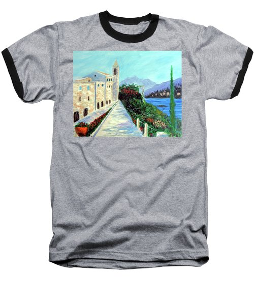 Baseball T-Shirt featuring the painting Lake Como Colors  by Larry Cirigliano