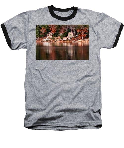 Lake Cottages Reflections Baseball T-Shirt
