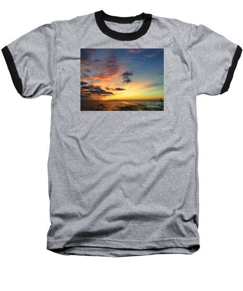 Lake Erie Sunset 2 Baseball T-Shirt