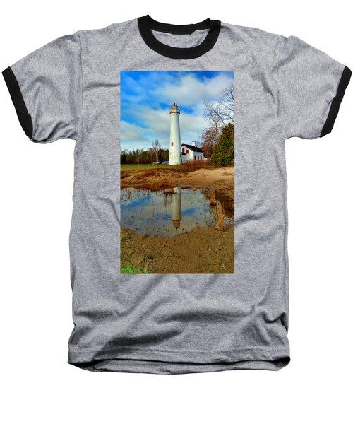 Lake Huron Lighthouse Baseball T-Shirt by Michael Rucker