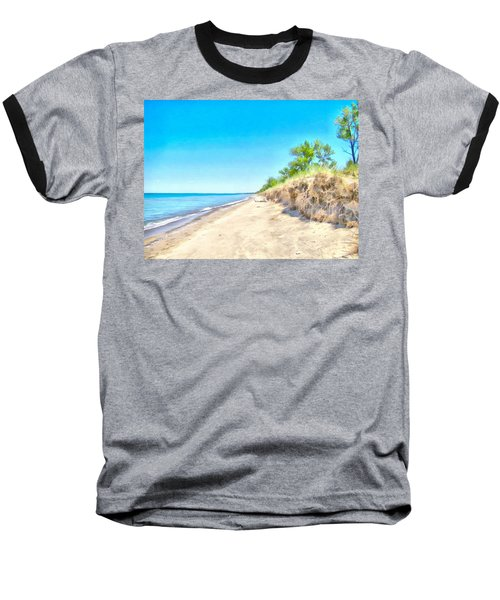 Lake Huron Shoreline Baseball T-Shirt by Maciek Froncisz