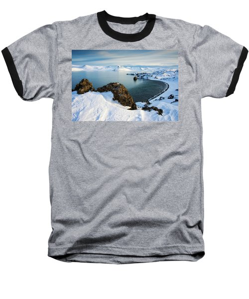 Baseball T-Shirt featuring the photograph Lake Kleifarvatn Iceland In Winter by Matthias Hauser