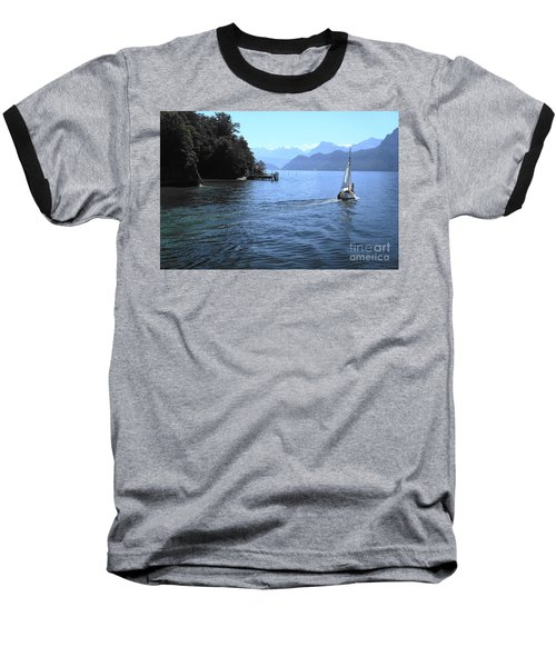 Lake Lucerne Baseball T-Shirt by Therese Alcorn