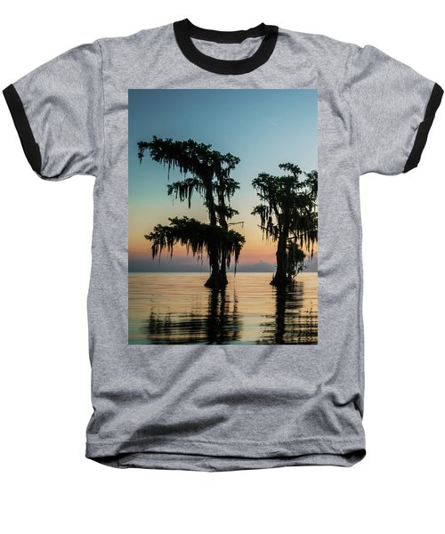 Lake Maurepas Sunrise Triptych No 3 Baseball T-Shirt by Andy Crawford