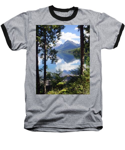 Lake Mcdlonald Through The Trees Glacier National Park Baseball T-Shirt