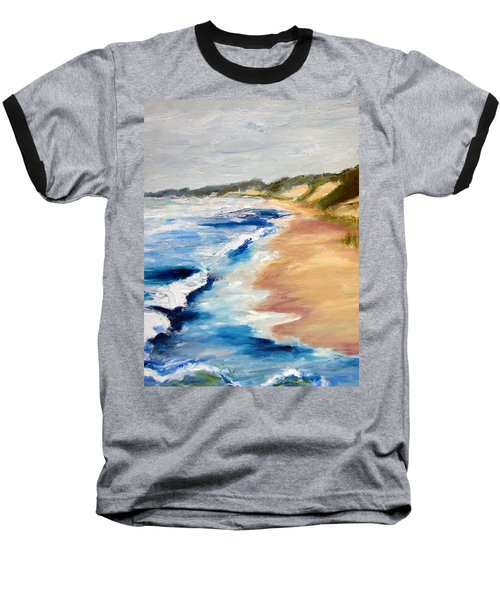 Lake Michigan Beach With Whitecaps Detail Baseball T-Shirt