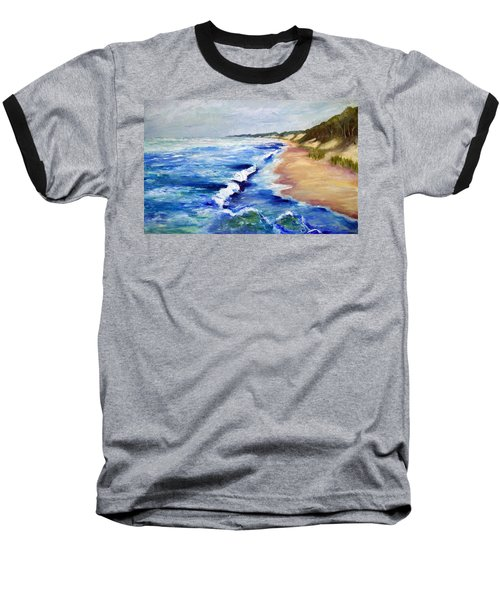 Lake Michigan Beach With Whitecaps Baseball T-Shirt