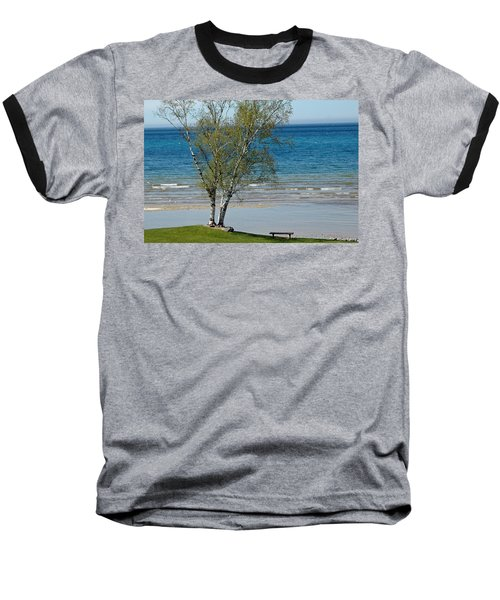Baseball T-Shirt featuring the photograph Lake Michigan Birch Tree Bench by LeeAnn McLaneGoetz McLaneGoetzStudioLLCcom