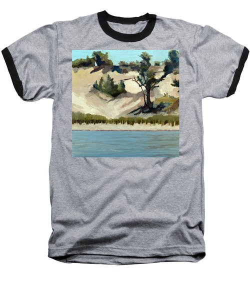Baseball T-Shirt featuring the painting Lake Michigan Dune With Trees And Beach Grass by Michelle Calkins