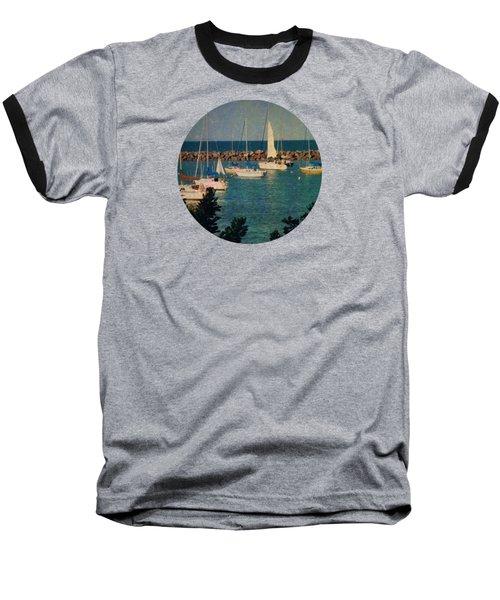 Lake Michigan Sailboats Baseball T-Shirt by Mary Wolf