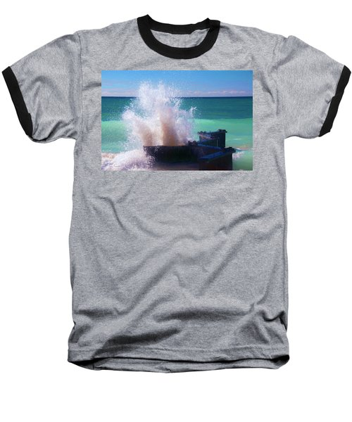 Lake Michigan Wave Crash Baseball T-Shirt