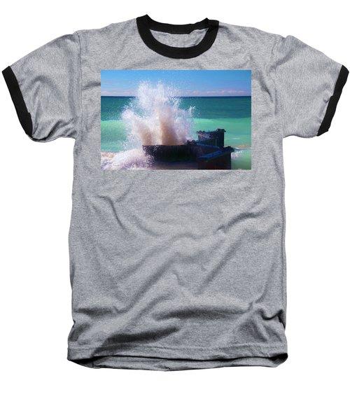 Lake Michigan Wave Crash Baseball T-Shirt