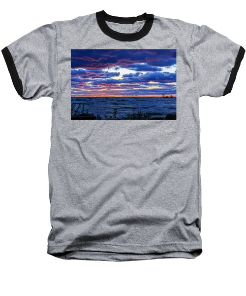 Lake Michigan Windy Sunrise Baseball T-Shirt