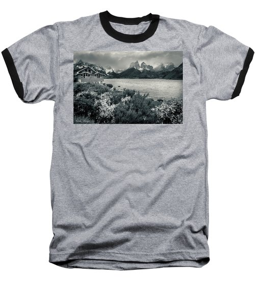 Baseball T-Shirt featuring the photograph Lake Pehoe In Black And White by Andrew Matwijec