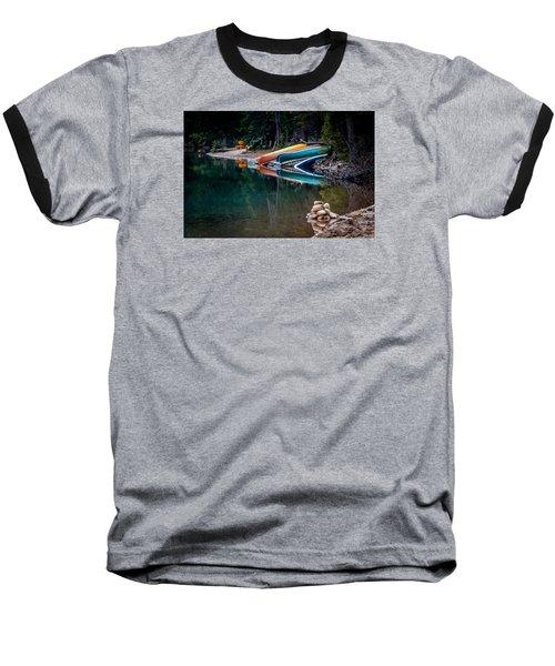 Kayaks At Rest Baseball T-Shirt by Menachem Ganon