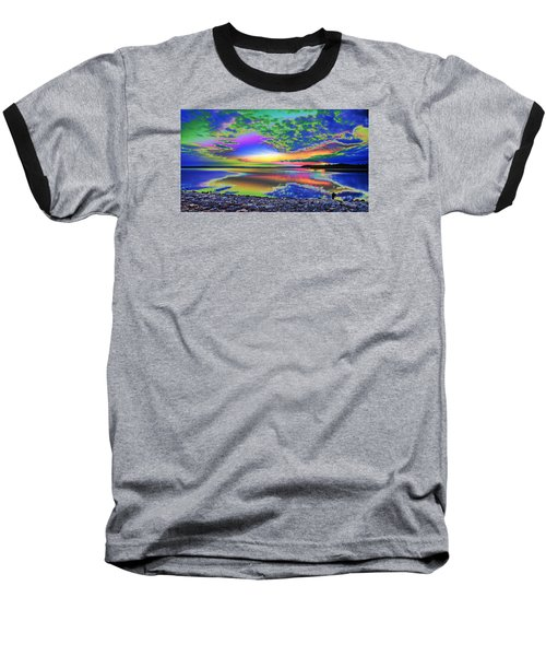Lake Sunset Abstract Baseball T-Shirt