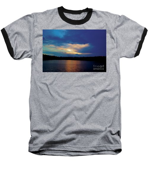 Lake Sunset Baseball T-Shirt by Debra Crank