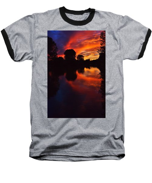 Lake Sunset Reflections Baseball T-Shirt