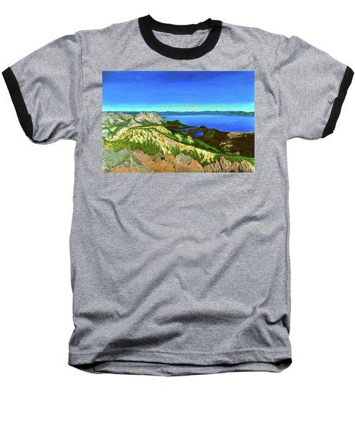 Lake Tahoe Panorama Baseball T-Shirt