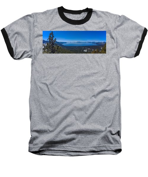 Lake Tahoe Spring Overlook Panoramic Baseball T-Shirt by Scott McGuire