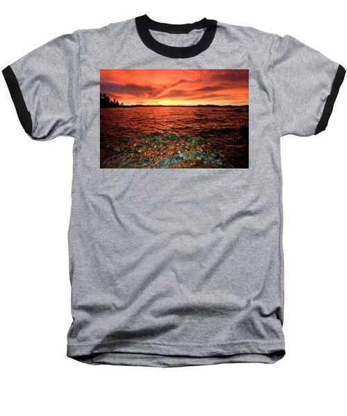 Lake Tahoe...blood Moon Sunset Baseball T-Shirt