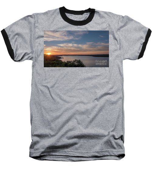Lake Travis During Sunset With Clouds In The Sky Baseball T-Shirt