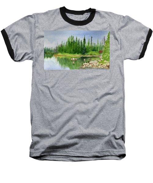 Baseball T-Shirt featuring the painting Lake View 1-2 by Yoshiko Mishina
