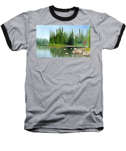Lake View 1 Baseball T-Shirt by Yoshiko Mishina
